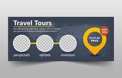 Travel tours corporate banner template, horizontal advertising business banner layout template flat design set Stock Images