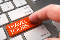 Travel Tours - Keyboard Key Concept. 3D. Royalty Free Stock Images