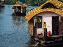 House boats floating on the backwaters of Kerala stock photos