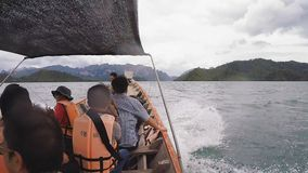 Travel on traditional Thai longtail boat stock video