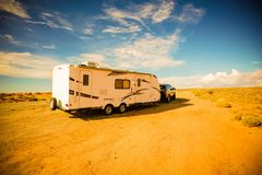 Travel Trailer Adventures. Rving in America South-West. RV in Arizona Royalty Free Stock Photography