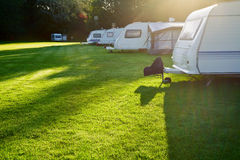 Travel trailer camping Royalty Free Stock Photography