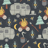 Travel Trailer Camping Pattern. A seamless camping pattern with travel trailers, campfires, trees, fireflies, roasting marshmallows, moons, and coffee Stock Photography