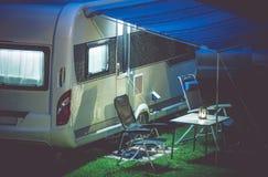 Travel Trailer Camping Setup Royalty Free Stock Images