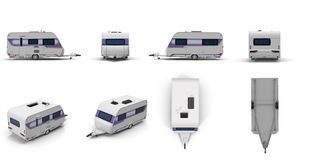 Travel Trailer Caravan renders set from different angles on a white. 3D illustration vector illustration