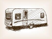 Travel trailer hand drawn sketch vector. Travel trailer sketch style vector illustration. Old engraving imitation. Vintage travel trailer hand drawn sketch vector illustration