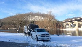 travel trailer rv winter camping Stock Image