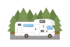 Travel trailer truck car vector illustration. Travel camping trailer car house , Nature holiday trailer house concept. Trailer house van truck vector and Stock Photo