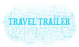 Travel Trailer word cloud. Wordcloud made with text only vector illustration