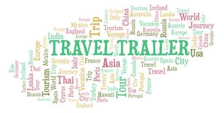 Travel Trailer word cloud. Wordcloud made with text only royalty free illustration