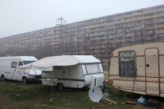 Travel trailers parked in Prague, Czech Republic. Royalty Free Stock Photography