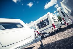 Travel Trailers Sales. Brand New and Pre Owned Travel Trailer Campers For Sale Stock Photography