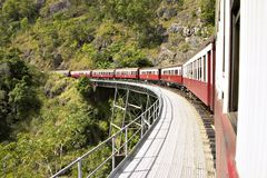 Travel Train. Rounding the bend on high Royalty Free Stock Photos