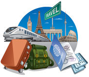 Travel by the train vector illustration