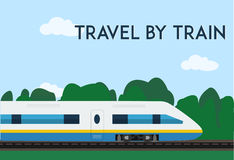 Travel by train poster. Minimal flat vector illustration for web or print. Royalty Free Stock Photos