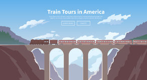 Travel by train. Web banner. Mountain railway. Stock Photo