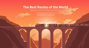 Travel by train. Web banner. Mountain railway. Stock Photography