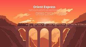 Travel by train. Web banner. Mountain railway. Stock Photos