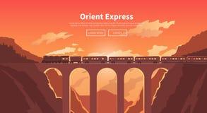Travel by train. Web banner. Mountain railway. Stock Photos