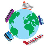 Travel by transport around the world. Stock Images