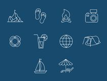 Travel and transport buttons set. Vector. Icons travel and Tourism with reflection Royalty Free Stock Photos