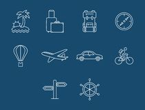 Travel and transport buttons set. Vector. Icons travel and Tourism with reflection Royalty Free Stock Images