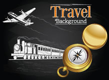 Travel by transport on the chalkboard background Stock Photo