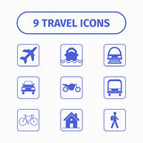 Travel and transport icon set for Web and Mobile App. Each icon is a single object. Stock Photography