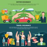 Travel And Transport Insurance Banners. Set of horizontal banners with travel and transport insurance including airplanes and boats  vector illustration Stock Image