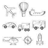 Travel and transport sketch icons Royalty Free Stock Photo
