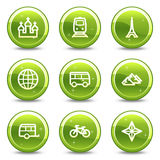 Travel and transport web icons set Royalty Free Stock Photo