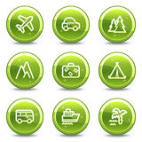 Travel and transport web icons set Stock Photos