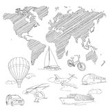 Travel Transport and world map line sketch vector Royalty Free Stock Image