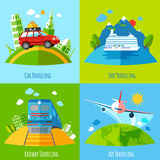 Travel transportation 4 flat icons square Royalty Free Stock Photo