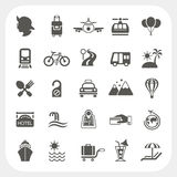 Travel and Transportation icon set stock illustration