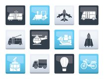 Travel and transportation icons over color background. Vector icon set royalty free illustration