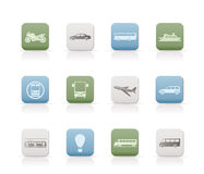 Travel and transportation of people icons Royalty Free Stock Photos