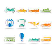 Travel and transportation of people icons. Icon set Royalty Free Stock Image