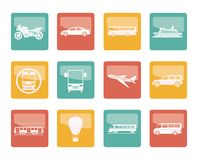 Travel and transportation of people icons over colored background. Vector icon set royalty free illustration