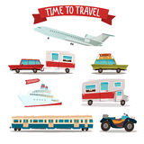 Travel Transportation Set. Camper and Car. Train and Plane Stock Photo