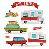 Travel Transportation Set. Travel Camper. Family Van Stock Images