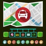 Travel Transportation Taxi GPS Navigation Map Stock Photos