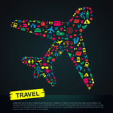 Travel transportation tourism and landmark infographic banner te Royalty Free Stock Images