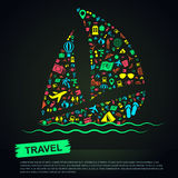 Travel transportation tourism and landmark vacation infographic Stock Photography