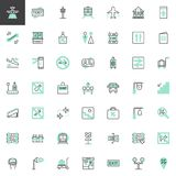 Travel transportation vector icons set. Modern linear symbol collection, bicolor style pictogram pack. Signs logo illustration. Set includes icons as train Royalty Free Stock Photos
