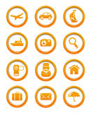 Travel and transportation web buttons set Royalty Free Stock Photography