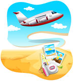 Travel. Ing to a beach by aeroplane Royalty Free Stock Photography