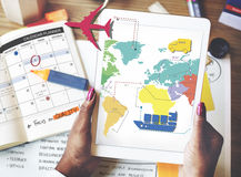 Travel Travelling Map Route Journey Concept Stock Photo