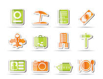 Travel, trip and holiday icons stock illustration