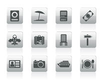 Travel, trip and holiday icons Stock Image
